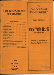 VINTAGE NEW YORK CENTRAL RR COMPANY ERIE DIVISION TIME TABLE NO. 79 1956