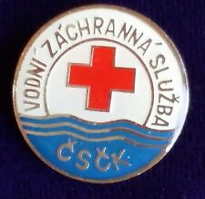 Water Rescue Red Cross Pin Dobrovolna Czechoslavakia Vodni Zachranna Sluzba