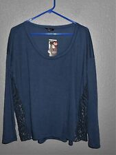 Soprano NAVY Blue Women's Size L Long Sleeve  Blouse LACE Sides NWT!