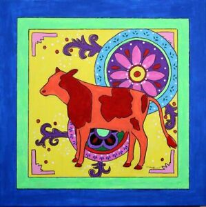 Teena Stewart Original Framed Mexican Folk Art Cow 18x18 Acrylic Painting