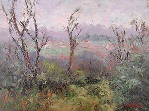 Original Oil Painting Australian Impressionist Artist Enoch Hlisic CLOUDY DAY