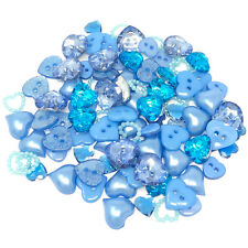 100 Mix Blue Resin Heart Flatback Craft Cardmaking Embellishment