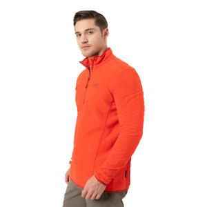 Jack Wolfskin Mens Echo Fleece Top Orange Sports Outdoors Half Zip Warm