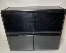 Black Plastic & Perspex 32 CD & 12 CD Box set Storage Unit With Drop Down Doors