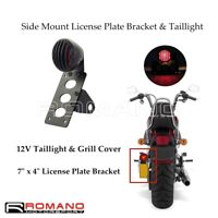 Motorcycle Side Mount Grill Tail Light License Plate Bracket For Harley Bobber
