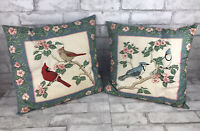 """Vintage Blue Quilted Throw Pillow Floral & 3D Bird Cottage Chic Kitsch 16x16"""""""