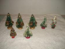 7 VINTAGE 1950s BOTTLE BRUSH CHRISTMAS TREES WITH ORNAMENTS LOT