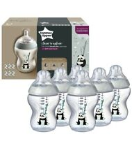 Tommee Tippee Baby Bottle Set (6 X 260ml/9floz) Sage Green Panda Print. *NEW*