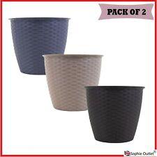 2x Round Rattan Plant Pot 20cm Plastic Pots Planter Basket Nursery Pot Tub G8807