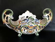 Rare Large  French Antique Desvres Majolica Centerpiece - Planters Pottery