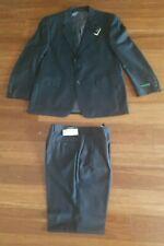 Ralph Lauren Recent Charcoal Navy Blue Wool 2 Button Suit 42S - Flat Pants 35W