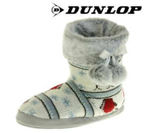 Ladies Dunlop Rocking Robin Print Cosy Knit Fur Lined Slipper Boots with Pom Pom