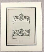 1859 Print Victorian Cast Iron Bed Bedstead Headboard Original Antique
