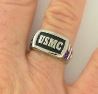 USMC Marines Military Ring Size 5-15 Men's and Ladies American Flag On Side