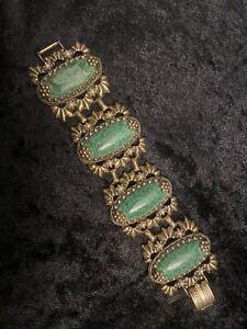 Vintage Gold Tone Wide Link Panel Bracelet. Green Cabs Faux Pearls. UNIQUE FANCY