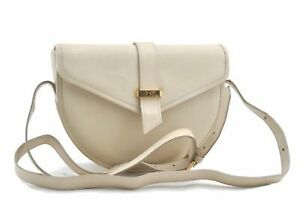 Auth YVES SAINT LAURENT Monogram Shoulder Cross Body Bag Leather Ivory A8863