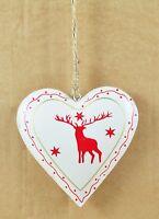 Vintage Christmas Metal Heart Decoration Retro Chic Santa Reindeer Traditional