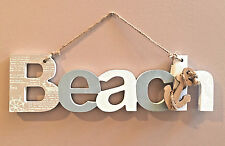 Nautical Wall Art Wood Wooden Sign Plaque BEACH letters Anchor Decor Shabby Chic