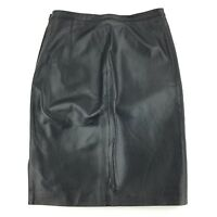 Newport News Women's Leather Skirt Black Pencil Straight Pencil Side Zip Size 10