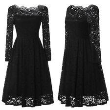 UK Women Ladies Vintage Lace Swing Skater Party Evening Retro Dress Size 8-22