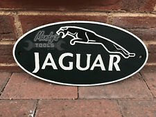 LARGE JAGUAR Wall Plaque Cast Iron Green & White 30cm Oval Sign Wall