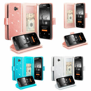 Alcatel A30 Case, Alcatel Kora, Zip Case Glitter Shine Leather Wallet Cover