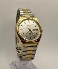Vintage 1978 Seiko SQ 7546-8049 Day & Date Dress Watch Orig Bracelet New Battery