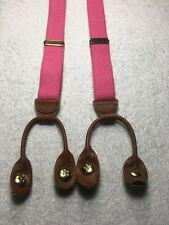 YOUTH SIZE SUSPENDERS ALL ELASTIC CLIP ONS OR BUTTON ONS SOLID PINK