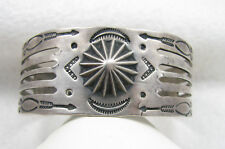 Vintage Fred Harvey Era Repousse Stamped Arrows Sterling Silver Cuff Bracelet
