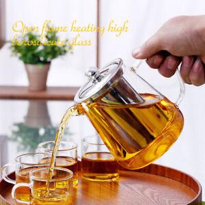 450-950ml Heat Resistant Clear Glass Teapot Jug Tea Infuser Tea Coffee Leaf Pot