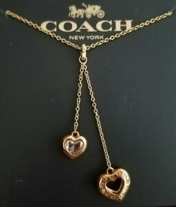 NEW IN GIFTBOX COACH 2 HEART DROP Necklace Rose Gold F27144 $75
