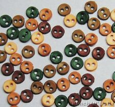 FALL MICRO MINI ROUND - Autumn Brown Green Doll Tiny Dress It Up Craft Buttons