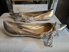 Chloe Gold Leather pointed toe Ballet Flats Size 38.5 silver rhinestone bow