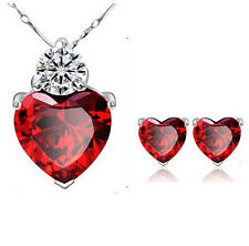 Women Gold Plated Red Heart Crystal Jewelry Sets Wedding Necklace Earring sets