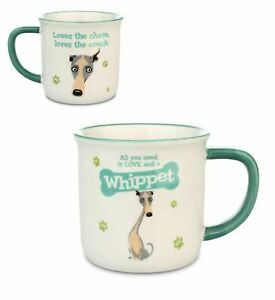 Wags & Whiskers Dog Stoneware Coffee Tea Mug WHIPPET Dog Lover Birthday Gift