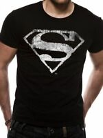 Official Superman Mono Distressed Logo T-Shirt  Mens Black S M L XL XXL NEW