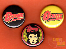 "Set of three 1"" David Bowie pins buttons Major Tom"