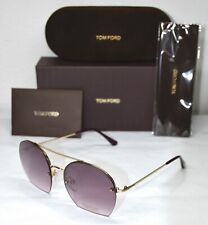 TOM FORD ANTONIA TF506 28Z SHINY ROSE GOLD PURPLE GRADIENT SUNGLASSES. 55mm