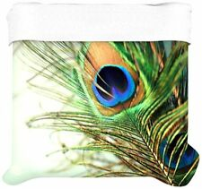 """Kess InHouse Sylvia Cook """"Teal Peacock Feather"""" Twin Cotton Duvet Cover 68 by 88"""