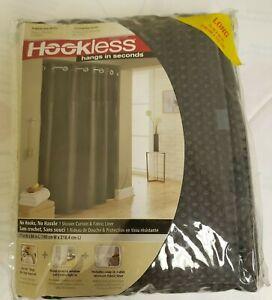 "Hookless Waffle Fabric Shower Curtain, Dark Grey, 71""x86"""