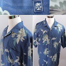 Tommy Bahama Mens Blue Short Sleeve Button Down Shirt Silk Size Large