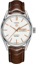 Tag Heuer Carrera Day Date Silver Dial on Brown Strap Men's Watch WAR201D.FC6291