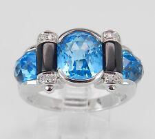Hand Ring 18K White Gold Size 6.75 Diamond Blue Topaz Black Onyx Cocktail Right