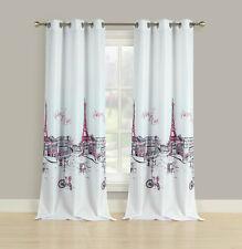 "2 Window Curtains Grommet Panel Pair Drapes Pink Grey Paris Eiffel Tower, 84"""