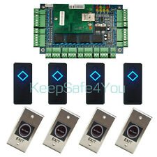Network RFID 4 door Ethernet Access Control Board Kit + 4 reader & exit button