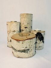 Lot Of 4 Rustic Hand Made Birch Bark Log Tree Candle Holders Cabin Varied Sizes
