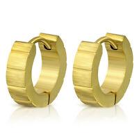 Creolen Streifen Gold aus Edelstahl Unisex Ohrringe Damen Frauen Clips Herren