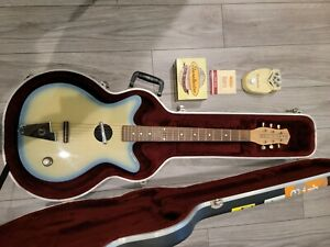 Danelectro Convertible Guitar In Blueburst with case & Daddy-O Distortion Pedal