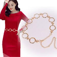 Women Gold Chain Link High Waist Hip Fashion Belt Round Shape Charm Dress Decor