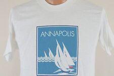 Vintage Annapolis T Shirt - Sail Boat Yacht Beach Tee USA - Men's Medium M